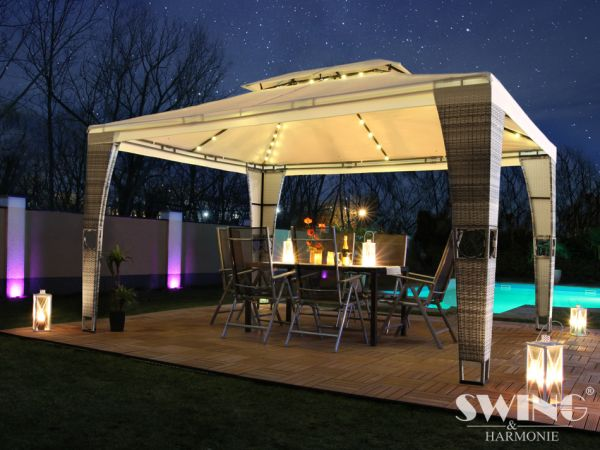 "Luxus Rattan Pavillon - ""Royal"" - 3x4 m"