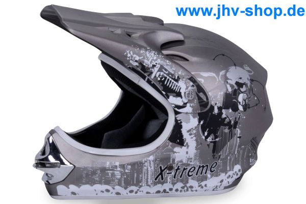 X-treme Kinder Cross Helm - Grau-Matt