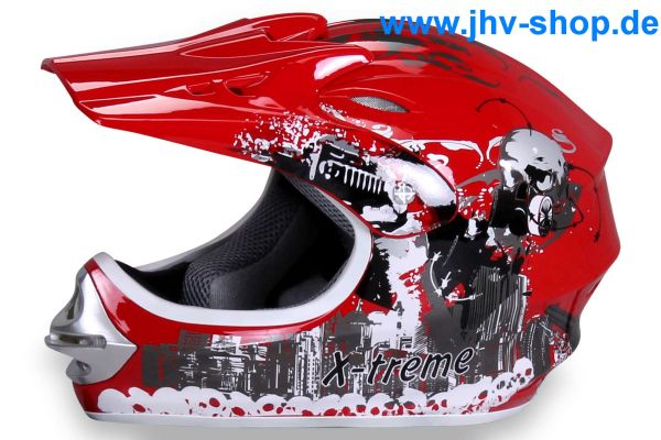 X-treme Kinder Cross Helm - Rot
